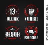 grunge fighting prints. martial ... | Shutterstock .eps vector #166467818
