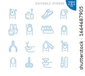 nails related icons. editable... | Shutterstock .eps vector #1664687905