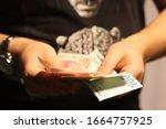 Man Hold Turkish Money Turkish...