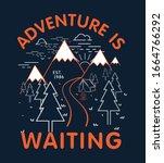 mountain illustration  outdoor... | Shutterstock .eps vector #1664766292