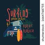surf illustration   t shirt... | Shutterstock .eps vector #1664768755