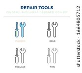 mechanic tool icon in different ...