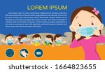 children wear a medical face... | Shutterstock .eps vector #1664823655