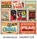 vintage cinema tin signs... | Shutterstock .eps vector #1664837128