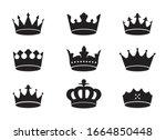 set of black vector king crowns ... | Shutterstock .eps vector #1664850448