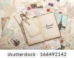 open empty diary book  old... | Shutterstock . vector #166492142
