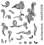 vector hand drawn waves. black... | Shutterstock .eps vector #166492328