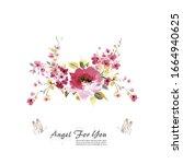 flowers watercolor illustration....   Shutterstock . vector #1664940625