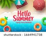 hello summer text vector banner.... | Shutterstock .eps vector #1664941738