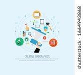 hand holding megaphone digital... | Shutterstock .eps vector #1664943868
