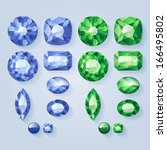 set of realistic jewels   green ... | Shutterstock .eps vector #166495802