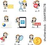 set character of woman in...   Shutterstock .eps vector #1664958178