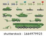 military equipment and soldiers ... | Shutterstock .eps vector #1664979925