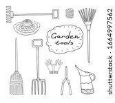 Set of garden tools. Sketch of leica, fork, broom, rake for leaves, rope, gloves, pruner. Handwritten phrase.