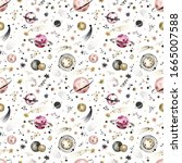 Seamless Space Pattern With...