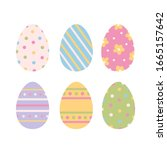 Vector Set Of Cute Easter Eggs. ...