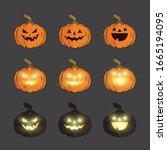 pumpkin vector set with... | Shutterstock .eps vector #1665194095