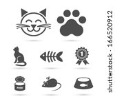 Cute Cat Icon Symbol Set On...