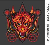 red dragon with geometry ... | Shutterstock .eps vector #1665273322