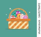 basket with easter eggs... | Shutterstock .eps vector #1665278692