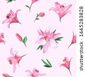 pink flowers   lily. seamless... | Shutterstock .eps vector #1665283828