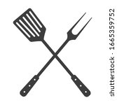 grill tools icon. crossed...   Shutterstock .eps vector #1665359752