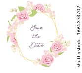 vector drawing rose flowers and ...   Shutterstock .eps vector #1665373702
