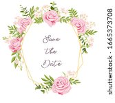 vector drawing rose flowers and ...   Shutterstock .eps vector #1665373708