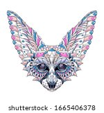 patterned head of fennec with... | Shutterstock .eps vector #1665406378