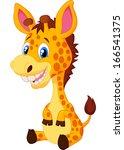 Stock vector cute baby giraffe cartoon 166541375