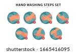 hand washing steps set  vector... | Shutterstock .eps vector #1665416095