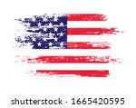 grunge american flag.brush... | Shutterstock .eps vector #1665420595