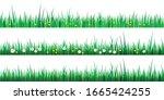 set of green grass borders... | Shutterstock .eps vector #1665424255