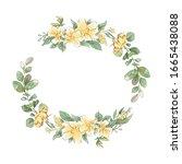 watercolor hand drawing wreath...   Shutterstock . vector #1665438088