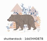 brown bear in  forest  postcard ... | Shutterstock .eps vector #1665440878