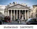 royal exchange  london with red ... | Shutterstock . vector #166545692