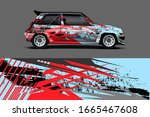 car wrap design concept with... | Shutterstock .eps vector #1665467608