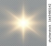 sun with rays and glow on... | Shutterstock .eps vector #1665480142