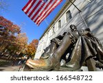 harvard statue. close up of... | Shutterstock . vector #166548722
