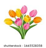 vector bouquet of pink  orange... | Shutterstock .eps vector #1665528358