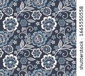 seamless vintage flower pattern ...   Shutterstock .eps vector #1665550558