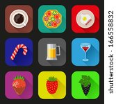 food and drinks icons set. flat ... | Shutterstock .eps vector #166558832