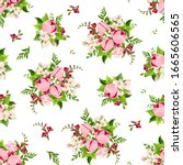 vector seamless pattern with... | Shutterstock .eps vector #1665606565
