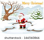santa claus on the winter... | Shutterstock .eps vector #166560866