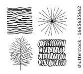set of vector abstract handmade ...   Shutterstock .eps vector #1665635662