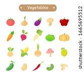 vegetables icon  lemon  tomato  ... | Shutterstock .eps vector #1665695512