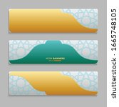 set of 3d banner with islamic...   Shutterstock .eps vector #1665748105