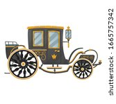 black royal carriage with... | Shutterstock .eps vector #1665757342