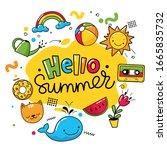 hello summer vector poster with ... | Shutterstock .eps vector #1665835732