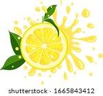 splash juicy slice of lemon... | Shutterstock .eps vector #1665843412